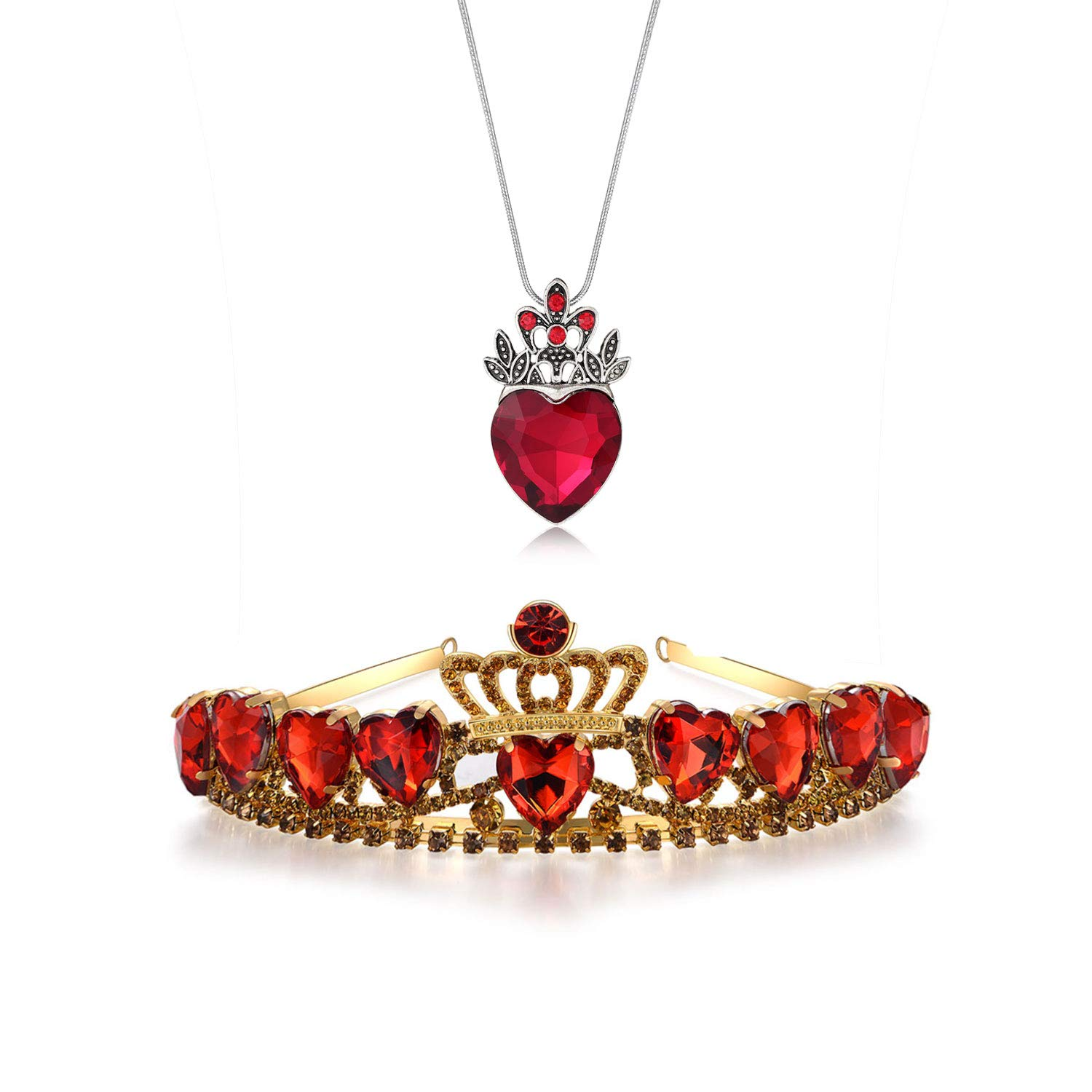 FUNLMO Evie Red Heart Tiara and Necklace Descendants Red Heart Crown Jewelry Set Queen of Hearts Costume Fan Jewelry Pre Teen Gift for Her