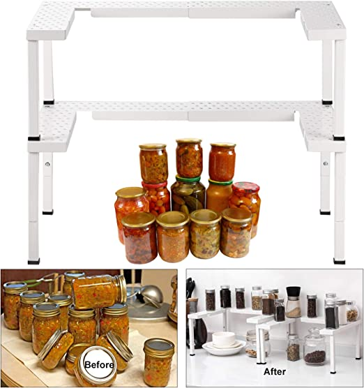 BRONZE CAXXA Metal Expandable and Stackable Spice Rack,Pantry Kitchen Cabinet Spice Organizer