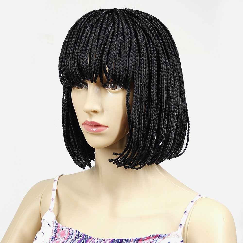 YXCHERISHAIR 10inch Short Bob Wigs for African American Women None Lace Front Wigs with Bangs,Hand Made Crochet Box Braids Small Synthetic Japanese Fiber Heat Resistant(10 inch, Natural Black)
