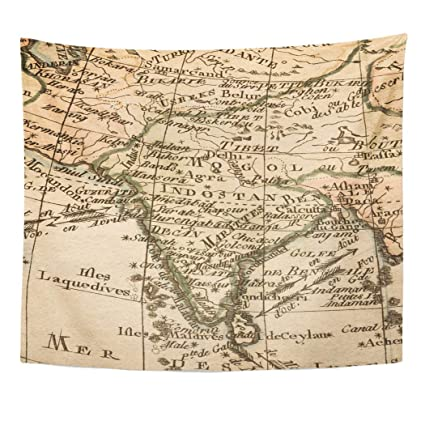 Amazon Com Emvency Decor Wall Tapestry India Antique Old Map Iberia