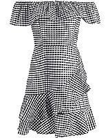 CindyCI Fora do ombro plissado Mulheres vestido de verão tarja de manga curta mini vestido NEW