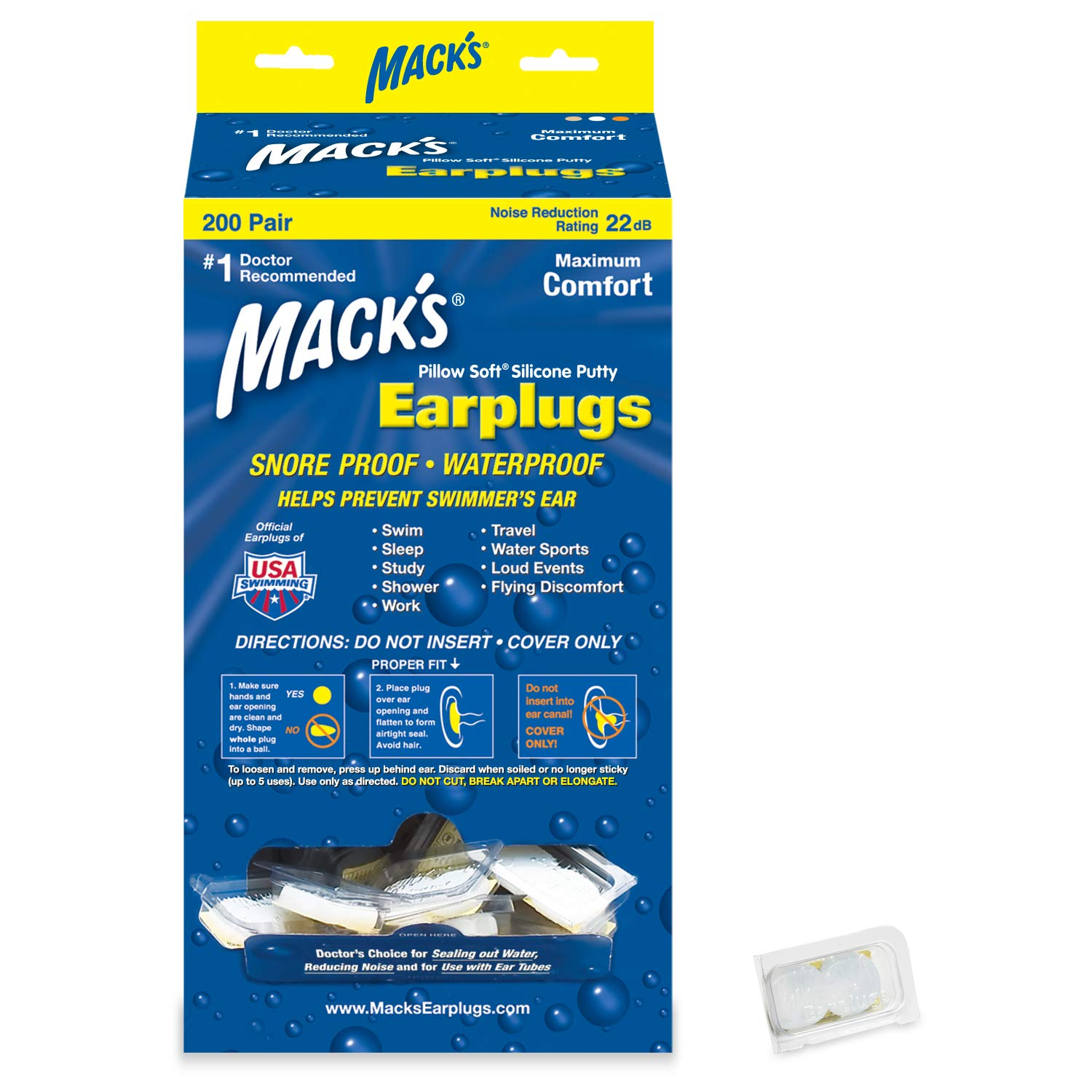 Mack's Pillow Soft Silicone Earplugs - 200 Pair Dispenser - The Original Moldable Silicone Putty Ear Plugs for Sleeping, Snoring, Swimming, Travel, Concerts and Studying by Mack's (Image #1)