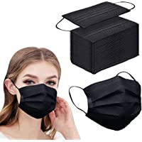 50pcs Black Disposable Face Masks Breathable 3-ply Mask