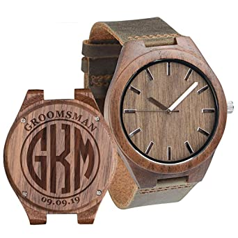 Buy Walnut Personalized Mens Wooden Watch Engraved Leather Strap