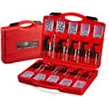 AKM 261Pc Thread Repair Kit, HSS Drill Helicoil Repair Kit SAE&Metric,1/4' 5/16' 3/8' 7/16' 1/2' M5 M6 M8 M10 M12 Kit