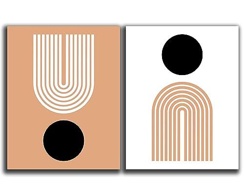 Amazon Com Mid Century Modern Geometric Wall Art Set Of 2 11x14 Unframed Prints Abstract Minimal Burnt Orange And Terra Cotta Rainbow And Circles Scandinavian Nordic Boho Wall Decor Handmade