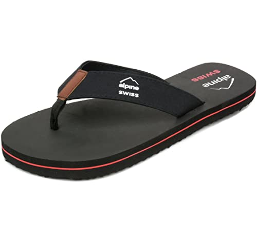 8e30c0495cc843 alpine swiss Mens Flip Flops Beach Sandals EVA Sole Comfort Thongs Black 7  M US