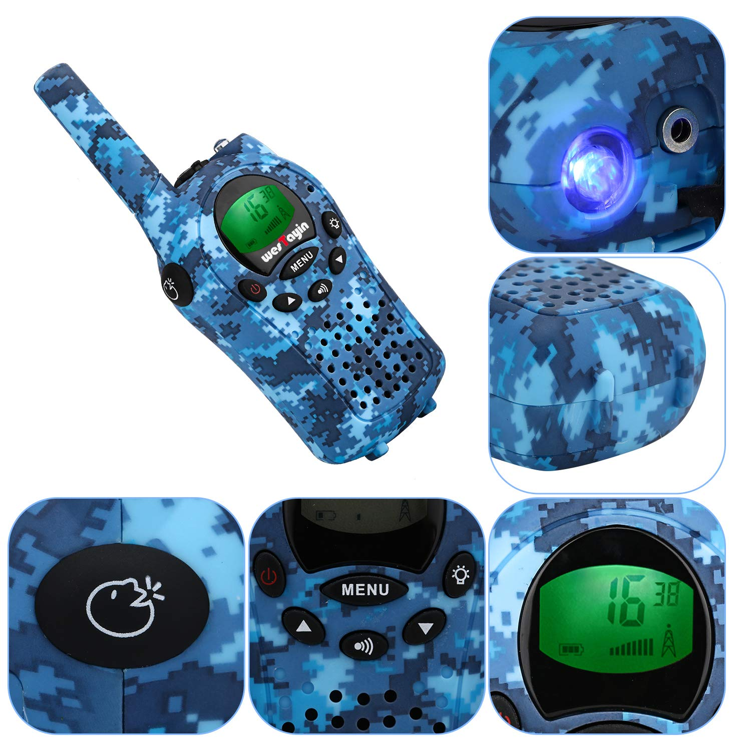 Walkie Talkies for kids, Kids Walkie Talkies for Girls and Boys , Vox Hands Free 4 Miles Long Range Walkie Talkie Set with Cystal Sound and LED Flashlight, Best Kids Toys Gifts for Christmas Birthday by WES TAYIN (Image #5)