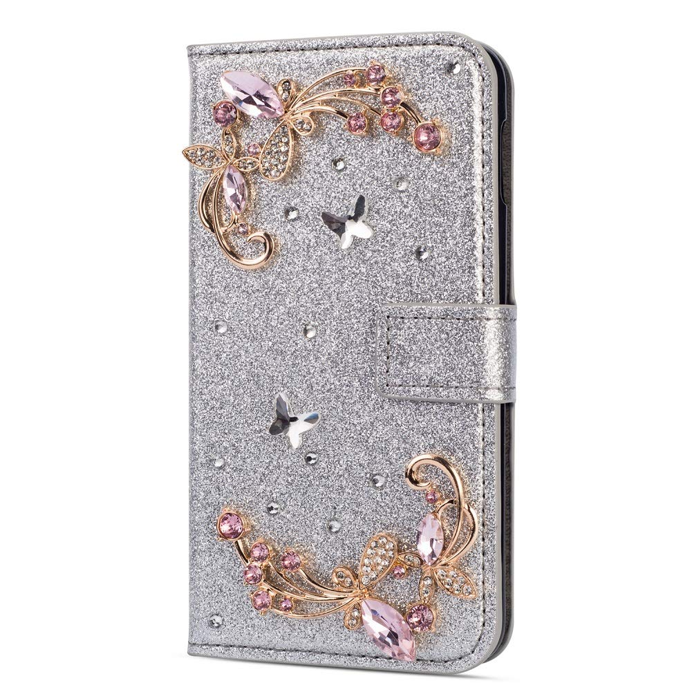 Amocase Glitter Case with 2 in 1 Stylus for Samsung Galaxy M10/A10,Luxury Diamond 3D Crystal Butterfly Flower Magnetic Wallet Leather Stand Case for Samsung Galaxy M10/A10 - Silver