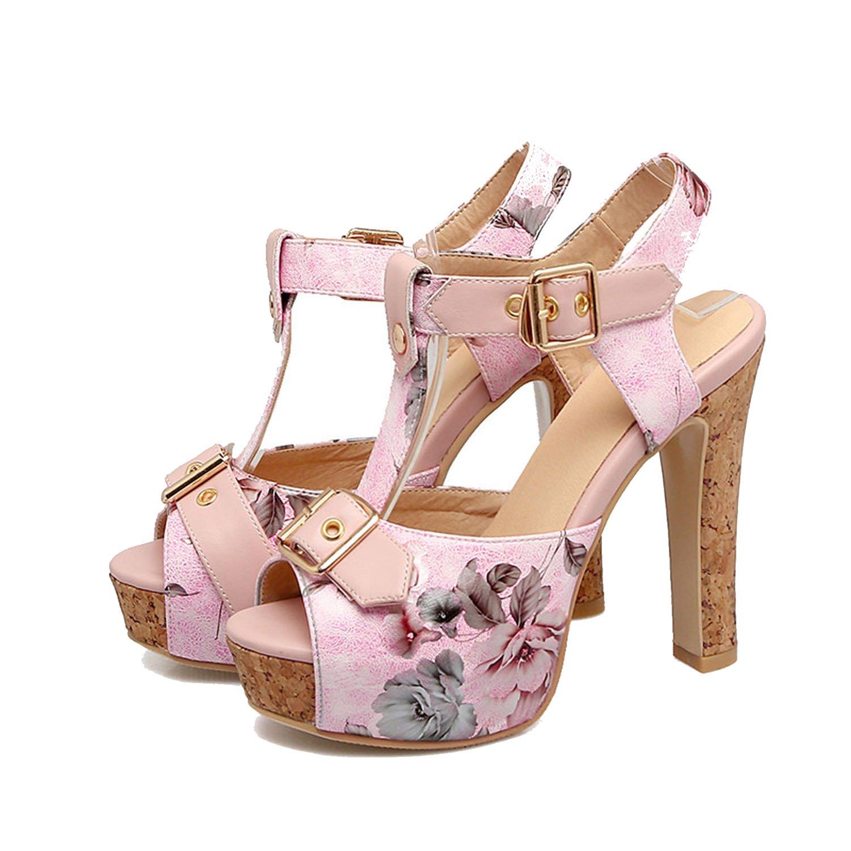 Sky-Pegasus 2018 Fashion Party Sandal High Heels Sandal Buckle Printing Platform Sandal Size 32 33-43 46,Pink,4