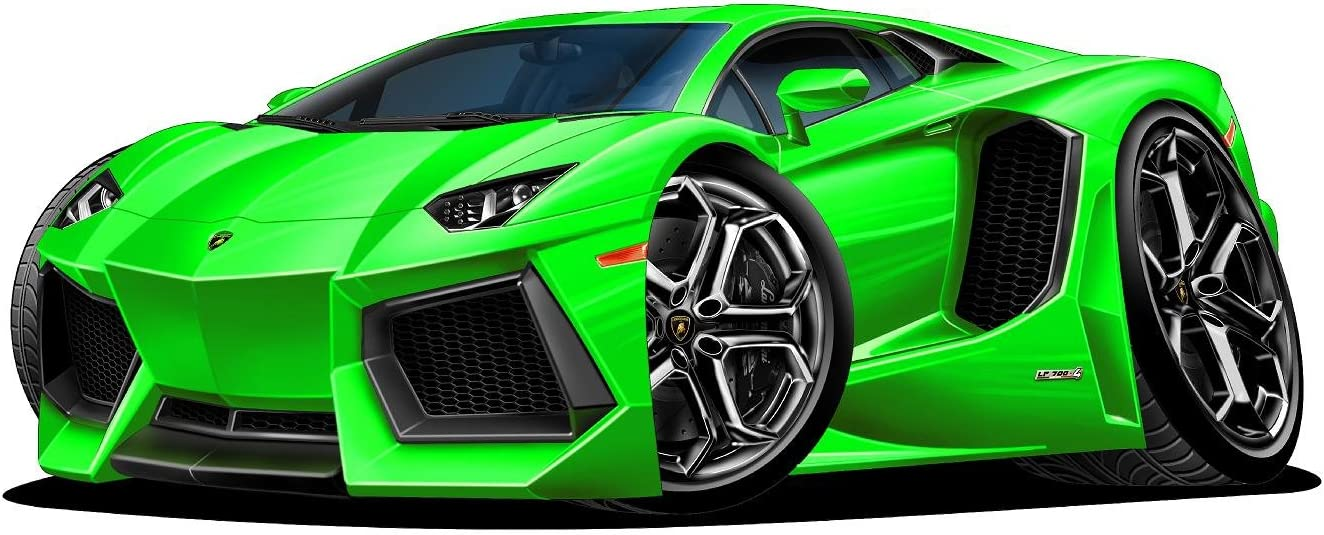Amazon Com 18 Lamborghini Aventador Green Wall Decal Cartoon Car 3d Sticker Mural Kids Room Sports Den Man Cave Boys Home Kitchen