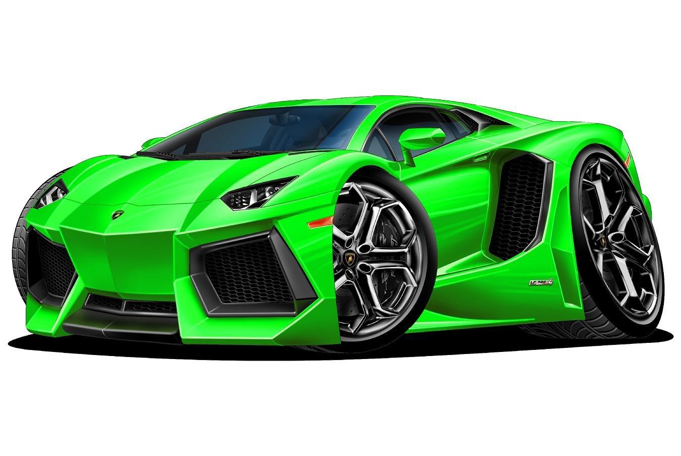 Amazon Com 12 Lamborghini Aventador Green Wall Decal Cartoon Car