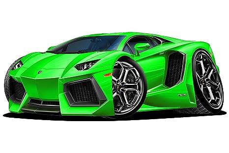 12 Lamborghini Aventador Green Wall Decal Cartoon Car 3d Sticker Mural Kids Room Sports Den Man Cave Boys