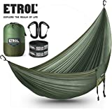 ETROL Hammock Camping Double Lightweight Parachute Portable Hammocks for Travel, Indoor, Outdoor Backpacking, Beach Includes Tree Straps and Aluminum Alloy Carabiners - USA Based Hammocks Brand Gear