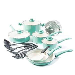 GreenLife Soft Grip Ceramic Non-Stick Cookware Set, 16-piece