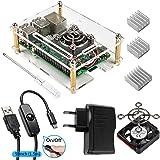 Smraza per Raspberry Pi 3 Case + Dissipatore 3 Pezzi + Alimentatore da 5V/2.5A + Ventola+ USB Cavo con Interrupteur On Off Compatibile con Raspberry Pi 3 Custodia per 3 b 2 Model B
