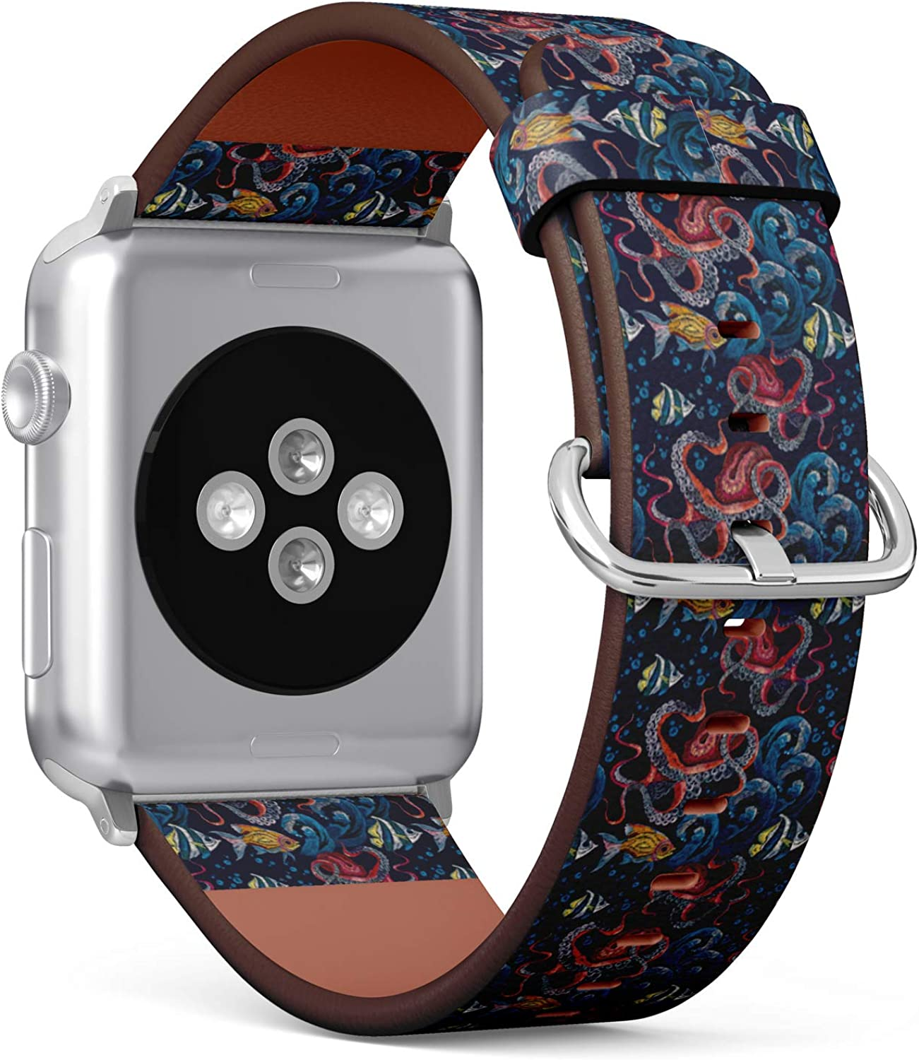 (Fashionable Embroidery Octopus, sea Wave and Tropical Fishes Pattern.) Patterned Leather Wristband Strap for Apple Watch Series 4/3/2/1 gen,Replacement for iWatch 38mm / 40mm Bands