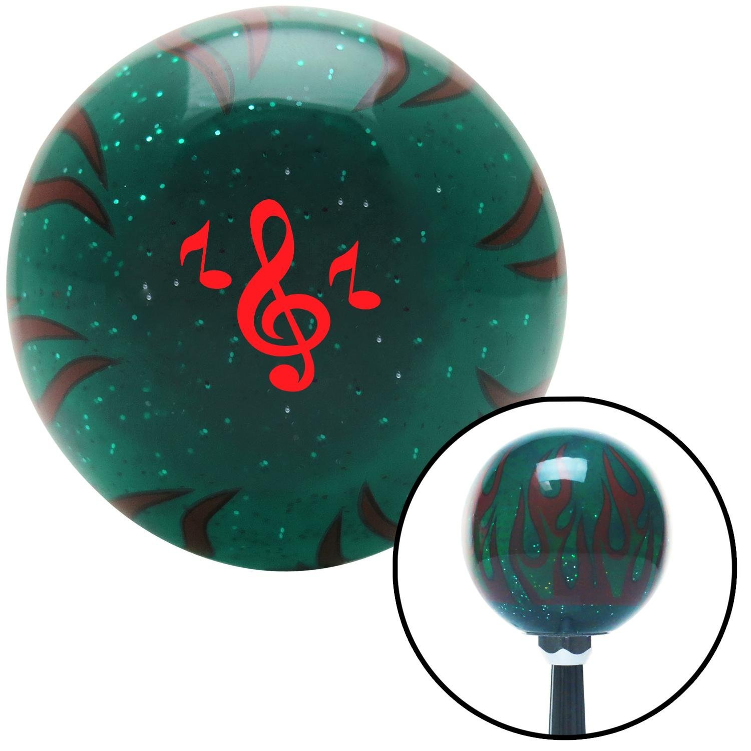 Red Treble Clef American Shifter 262870 Green Flame Metal Flake Shift Knob with M16 x 1.5 Insert