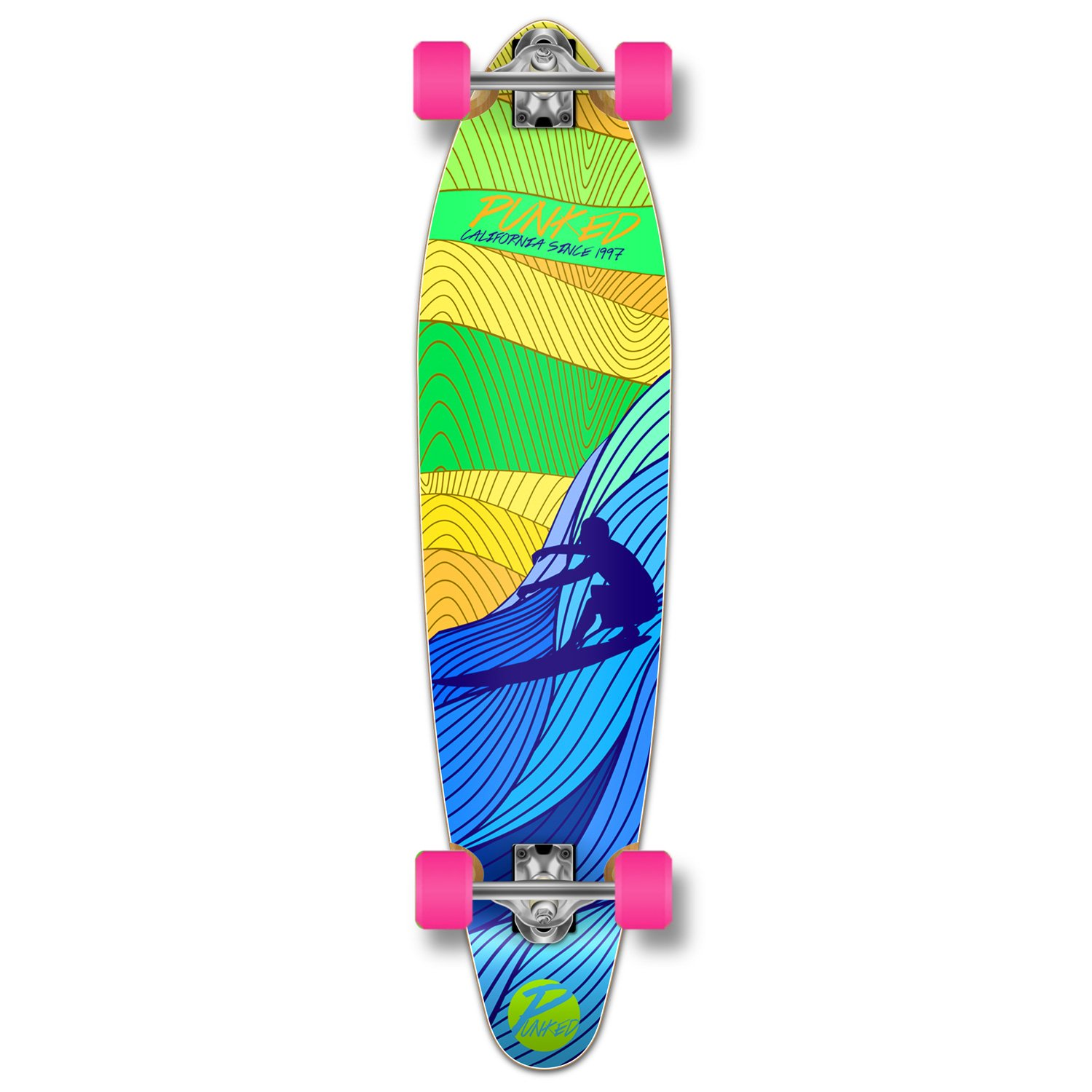 Yocaher Punked Blue Surf's Up Longboard Complete skateboard - available in All shapes (Kicktail)