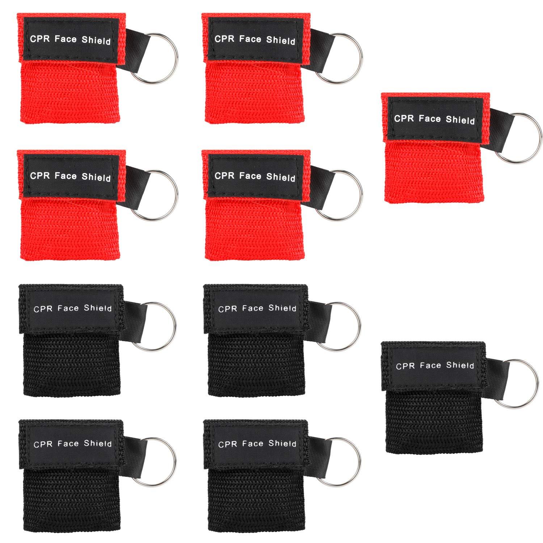 20 St/ück CPR Maske Schl/üsselanh/änger Ring Notfall Kit Rescue Face Schilde mit R/ückschlagventil Atmen Barriere f/ür Erste Hilfe oder AED Training schwarz leicht zu transportieren