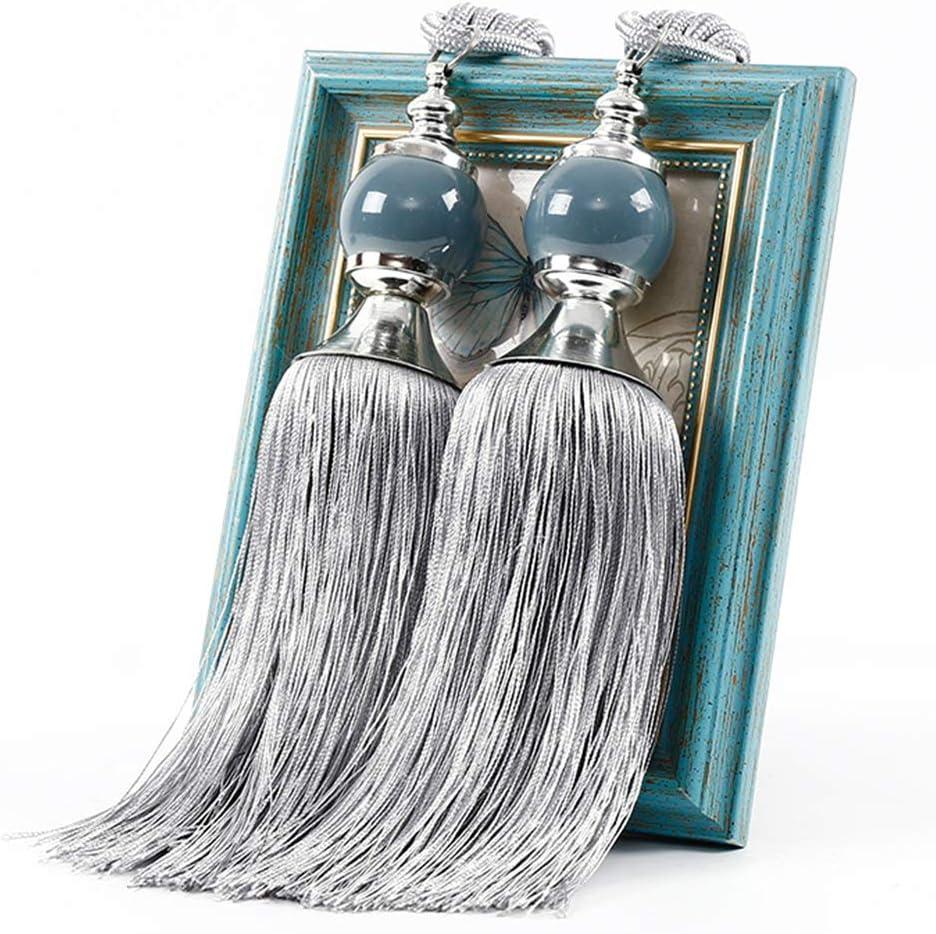 Woody541 Curtain Tieback 1 Pair Holdbacks Bandage Hanging DIY Decorative Simple Tie pe Bedroom Tassel Home Beads All Match Elegant Grey