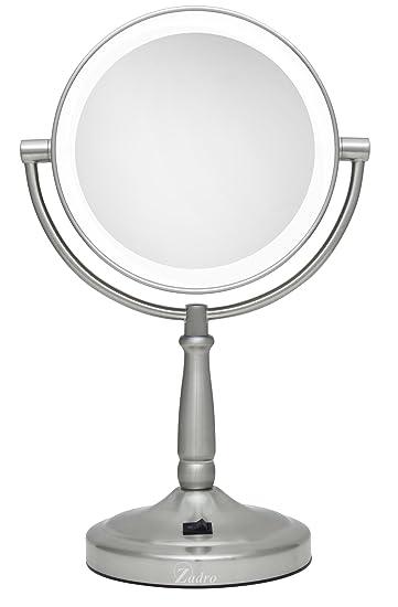 zadro mirrors. zadro 10x/1x magnification dual-sided vanity mirror, satin nickel mirrors m
