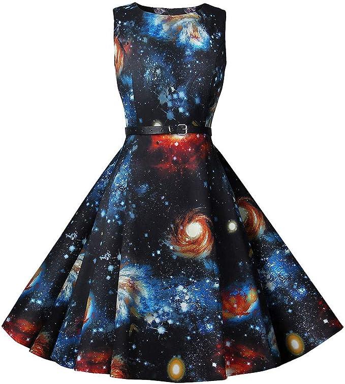 TYTUOO Damen Kleid Frauen Sleeveless Neck Abenddruck Party Prom Swing Sternenhimmel Kleider