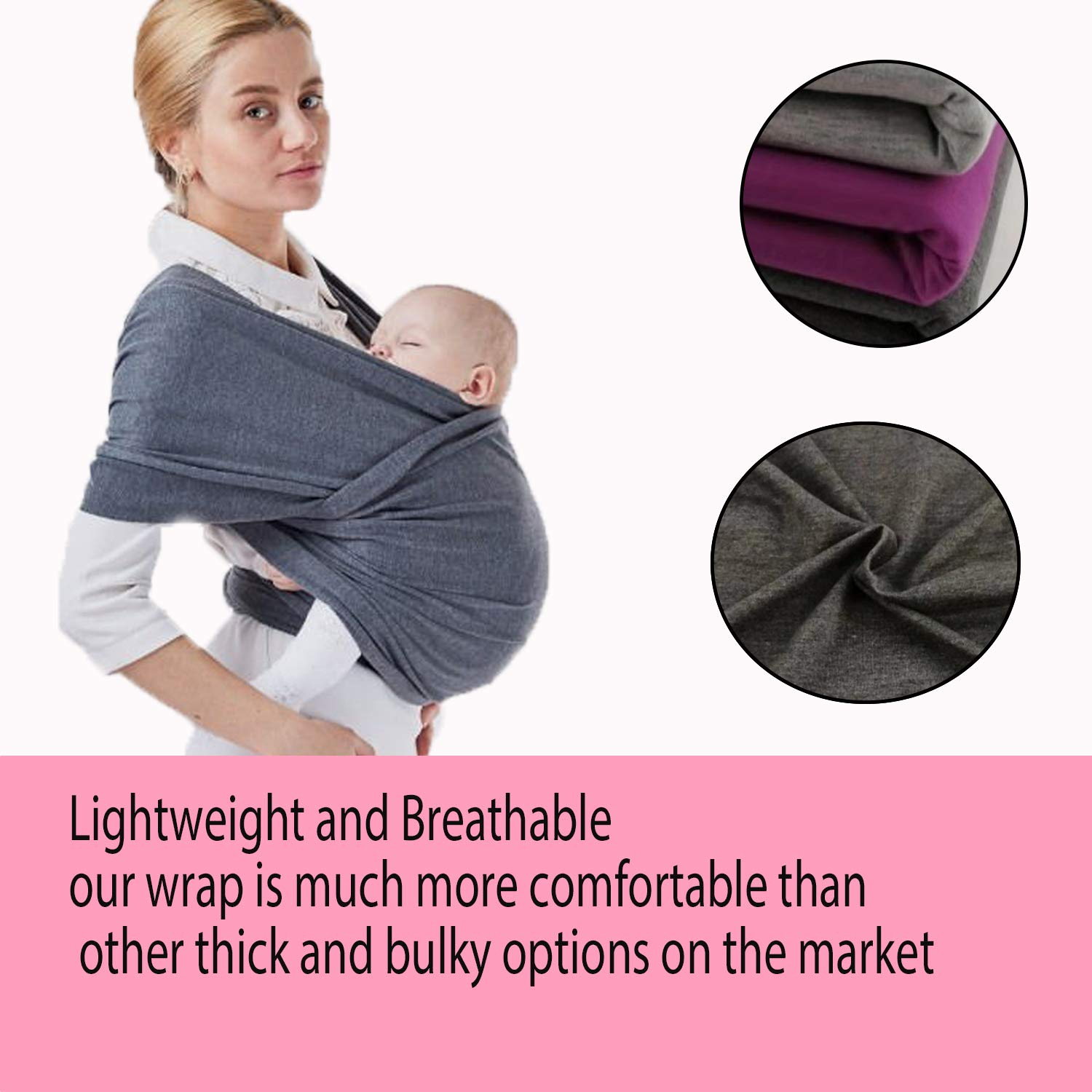 Baby Wrap for Newborns One Size Fits All Light-grey1 Rain/&Star Baby Sling Infants /& Toddlers| Nursing Cover Cotton//Spandex |Baby Carrie Ideal Gift| Baby Wrap Sling Organic Stretchy Carrier