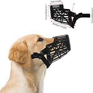 Basket Cage Dog Muzzle Size 4 - MEDIUM - Adjustable Straps - BLACK, by Downtown Pet Supply