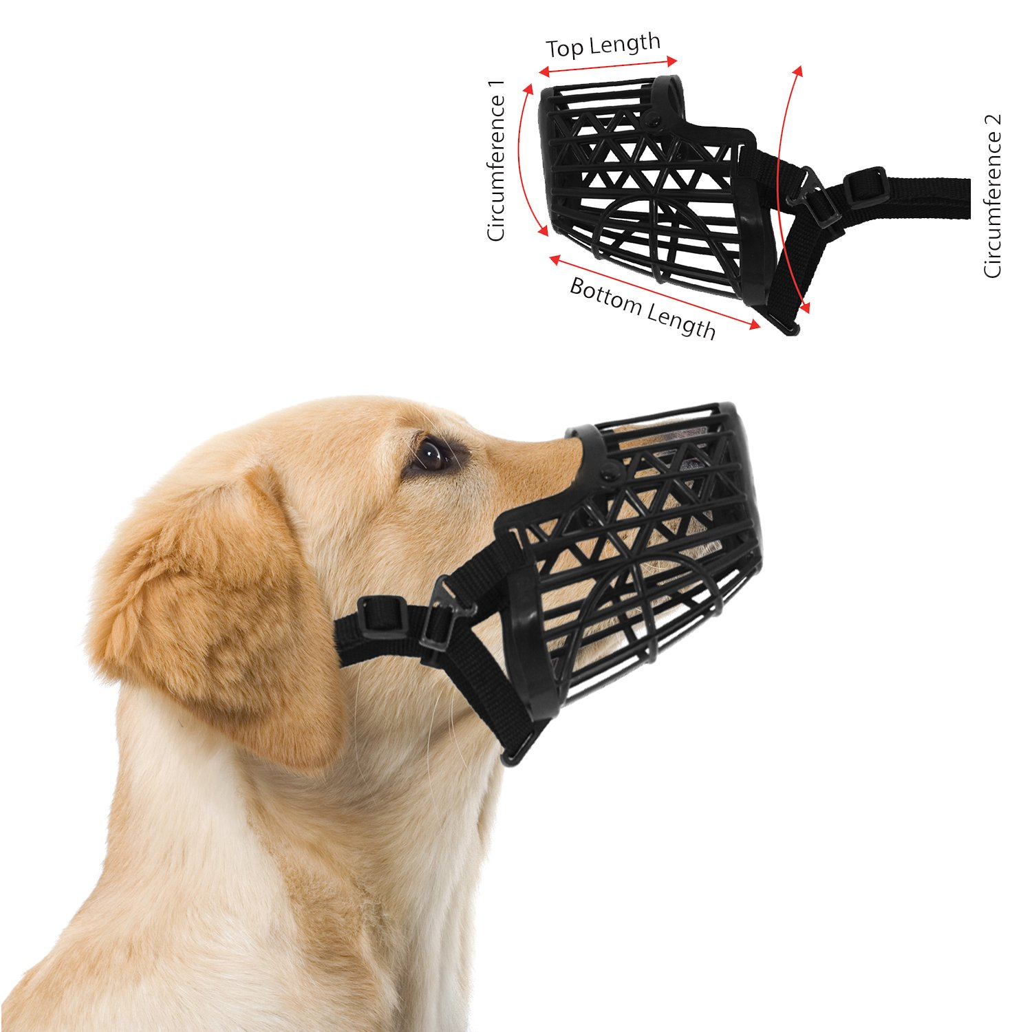 Downtown Pet Supply Basket Cage Dog Muzzle Size 7 - XX LARGE - Adjustable Straps - BLACK, by