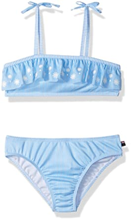 cc3fcc7aef5 Tommy Hilfiger Toddler Girls' Two-Piece Swimsuit, Azure Blue, ...