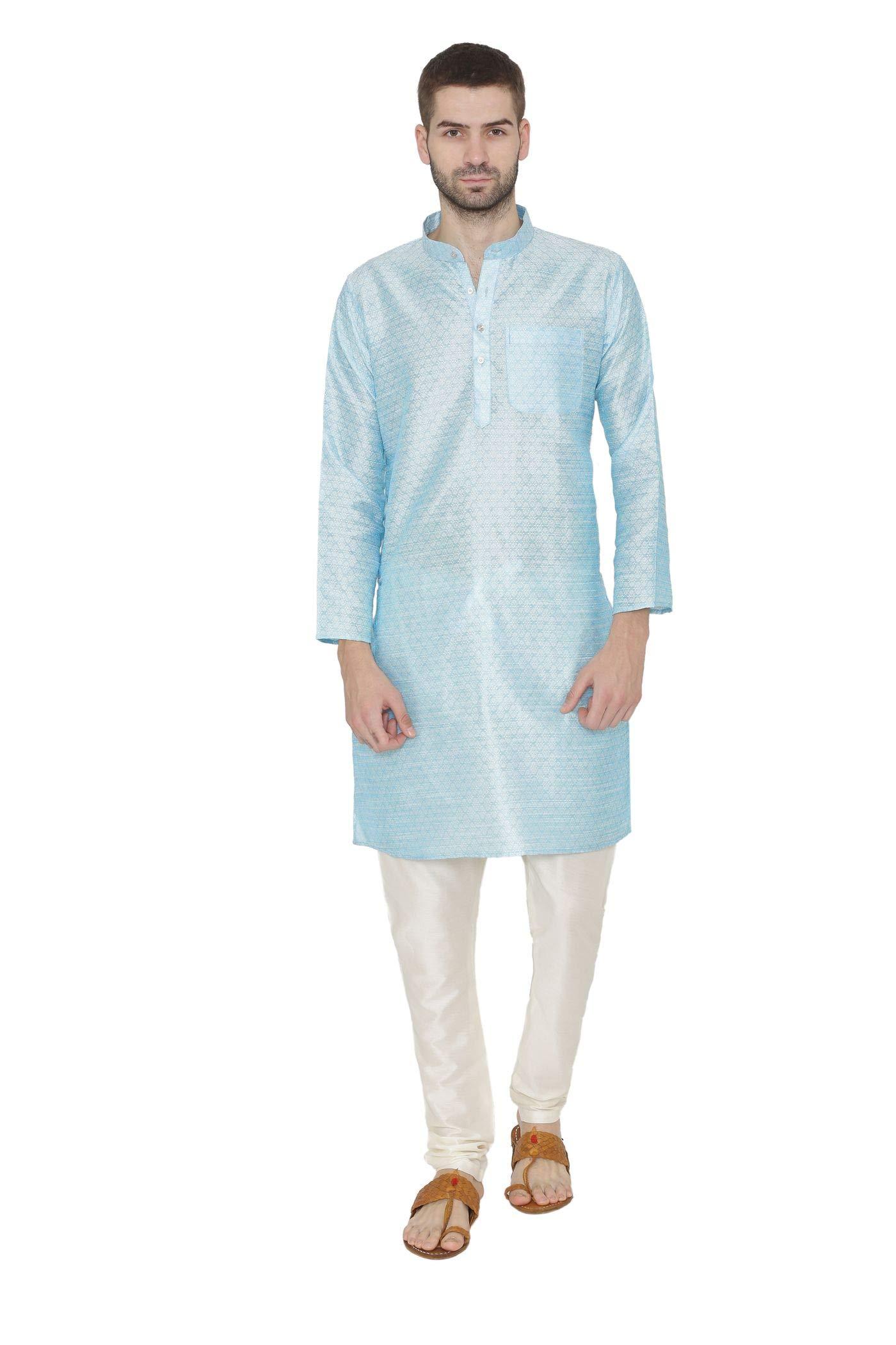 WINTAGE Men's Banarsi Art Silk Tailored Fit Festive Casual Kurta Chudidar Pajama Pyjama - Sky Blue / 4XL