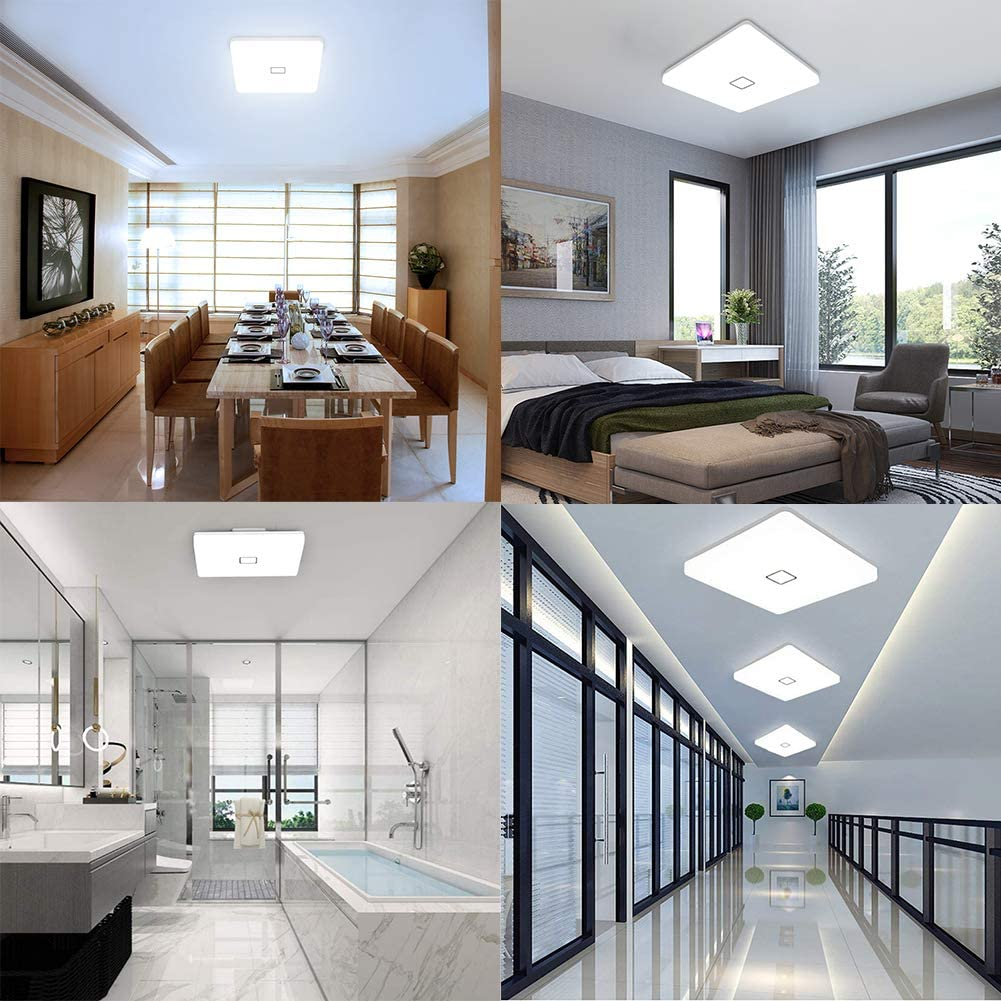 Airand 5000K LED Ceiling Light Flush Mount Ceiling Lamps 18W LED Ceiling Light Fixture,10.6 inch Square LED Light Fixture for Home & Office, Hallway with 180Pcs LED Chips, 1800LM, 80Ra+ (Cool White): Home Improvement