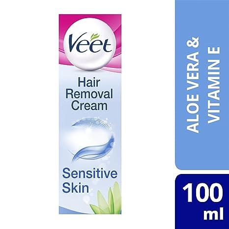 Veet - Crema depilatoria para pieles sensibles (con aloe vera y vitamina E, 100 ml): Amazon.es: Salud y cuidado personal