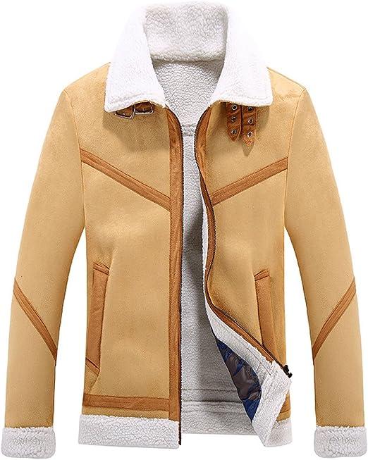 Amazon.com: Chartou - Abrigo de piel de ante con forro de ...