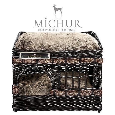 Caseta de mimbre para perros y gatos Michur Jerry, cojines incluidos