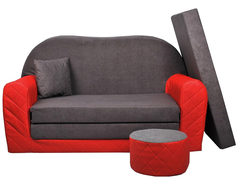 FORTISLINE Sofa bambino 2posti convertibili bi-color Rosso/Grigio W28203