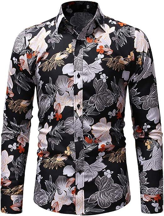Camisas Impresas para Hombre, otoño Invierno para Hombre Casual Otoño Imprimir Slim Tops de Manga Larga Camisas Blusa (Color : 1, tamaño : SG): Amazon.es: Jardín