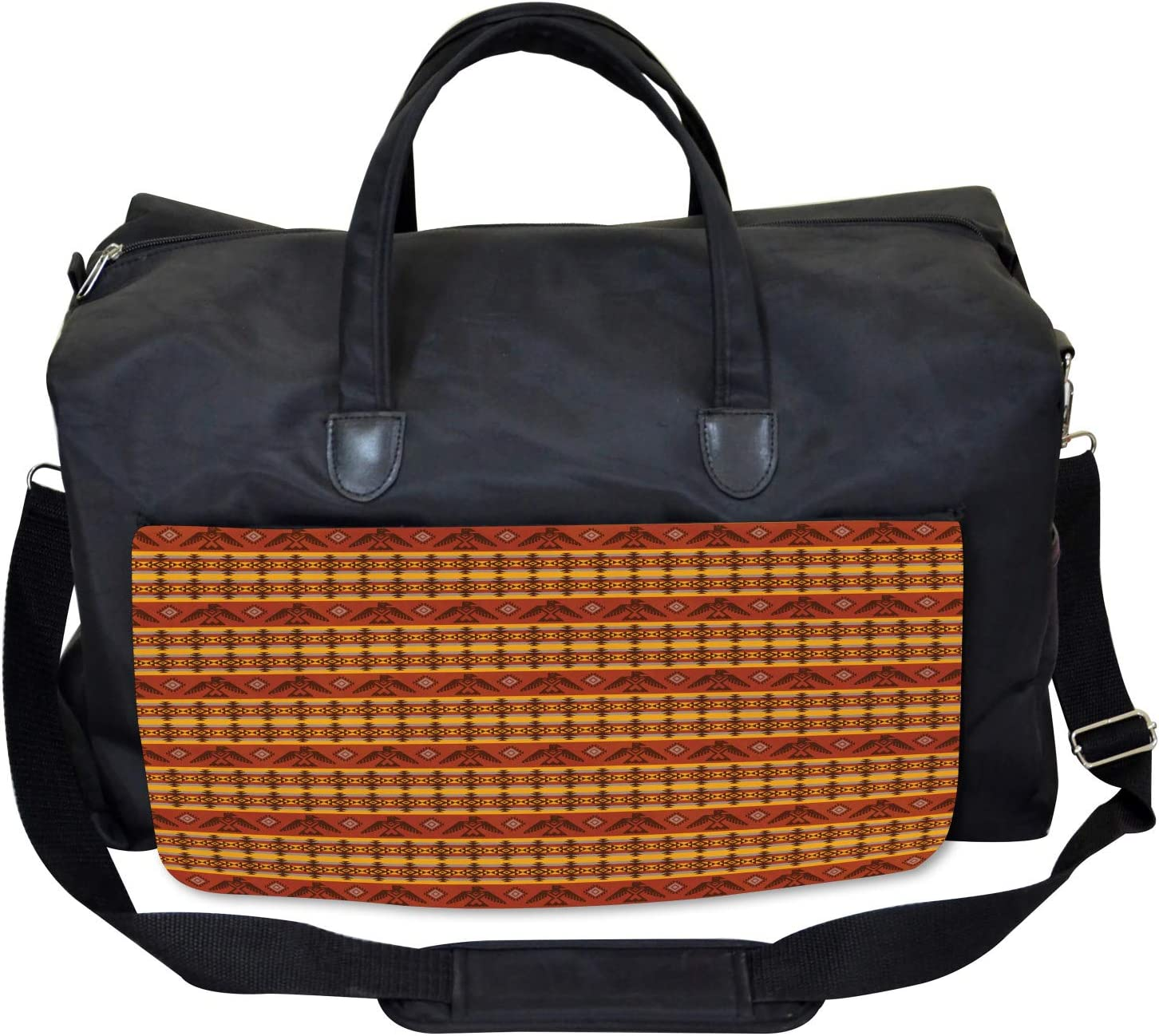 Large Weekender Carry-on Ambesonne Tribal Gym Bag Indigenous Motifs