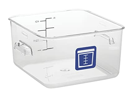 Rubbermaid Commercial Products 1980233 Square Plastic Food Storage Container,  Blue Label, 4 Quart,