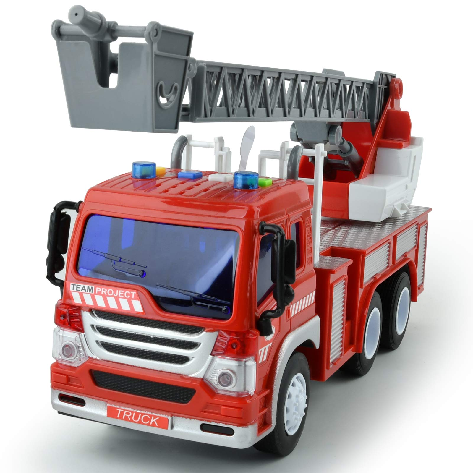 GizmoVine Toys for 2 Years Old Boys, Fire Engine Truck Friction Powered Fire Engine Toy, Inertial Vehicles Toy Cars for Toddlers & Kids