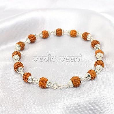 5d8ba1519cd Vedic Vaani Rudraksha Bracelet with Silver Caps: Amazon.in: Jewellery