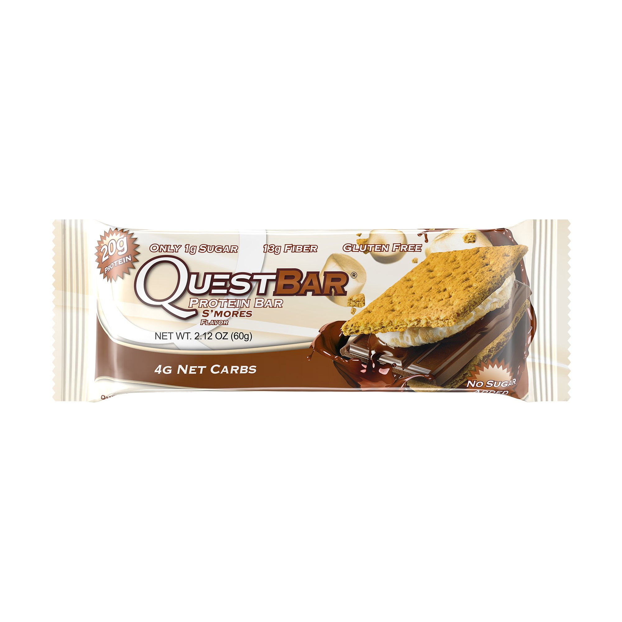 Quest Nutrition Protein Bar, S'mores, 20g Protein, 4g Net Carbs, 180 Cals, Low Carb, Gluten Free, Soy Free, 2.12oz Bar, 12 Count