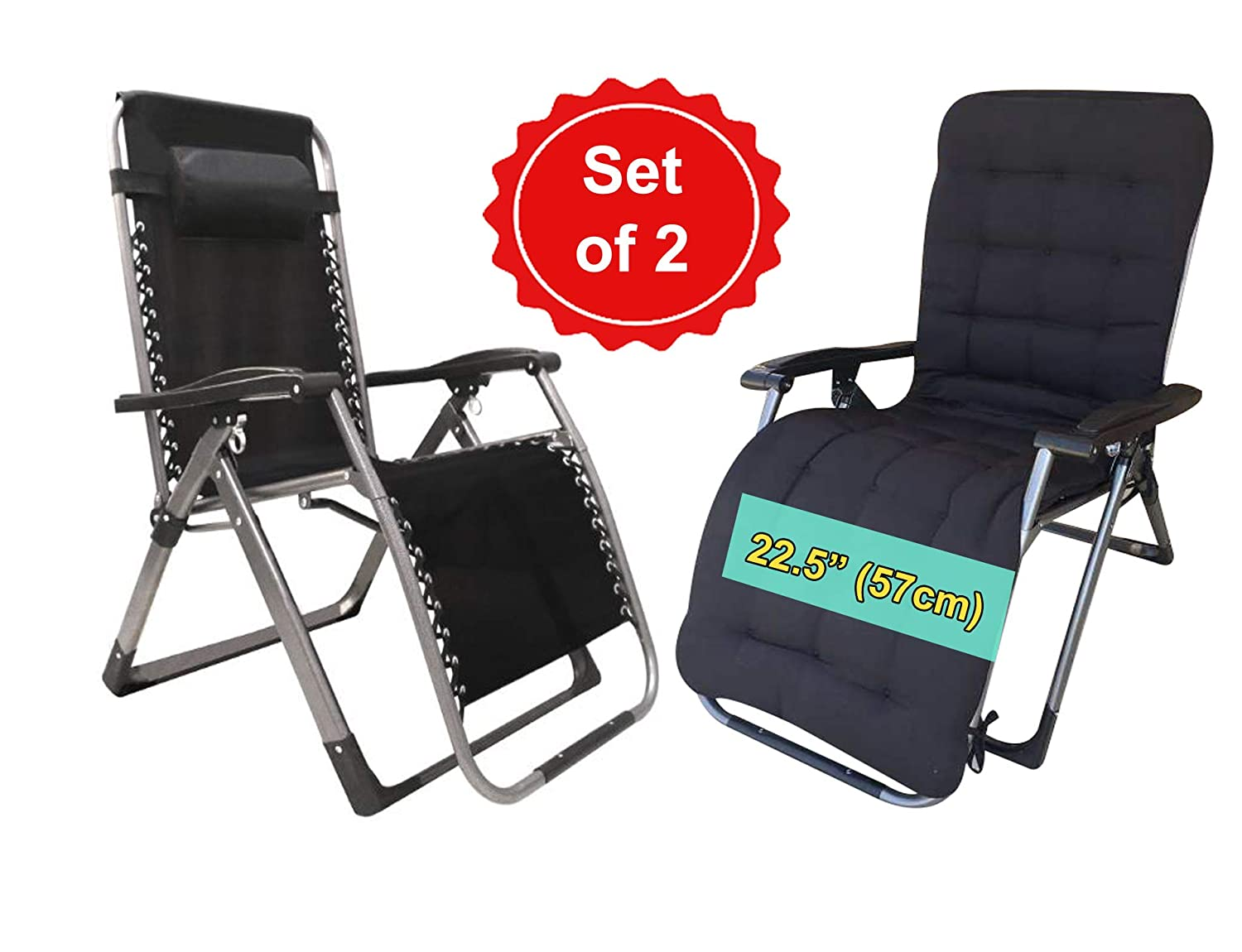 FOUR SEASONS Heavy Duty Zero Gravity Chair Recliner Square Legs Support 330 LBS