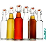 Zuzoro Glass Kombucha Bottles For Home Brewing Kombucha Kefir or Beer - 16 oz Clear Glass Grolsch Bottles case of 6 w/ Easy Swing top Cap w/ Gasket Seal Tight