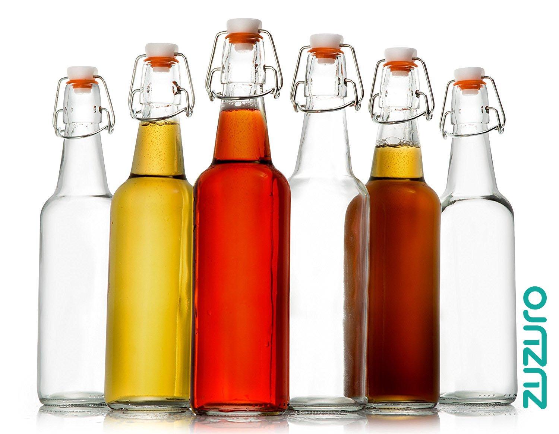 Zuzoro Glass Kombucha Bottles For Home Brewing Kombucha Kefir or Beer - 16 oz Clear Glass Grolsch Bottles case of 6 w/ Easy Swing top Cap w/ Gasket Seal Tight