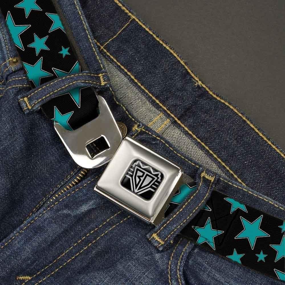 Multi Black//Turquoise 1.5 Wide-24-38 Inches Buckle-Down Unisex-Adults Seatbelt Belt Stars Regular