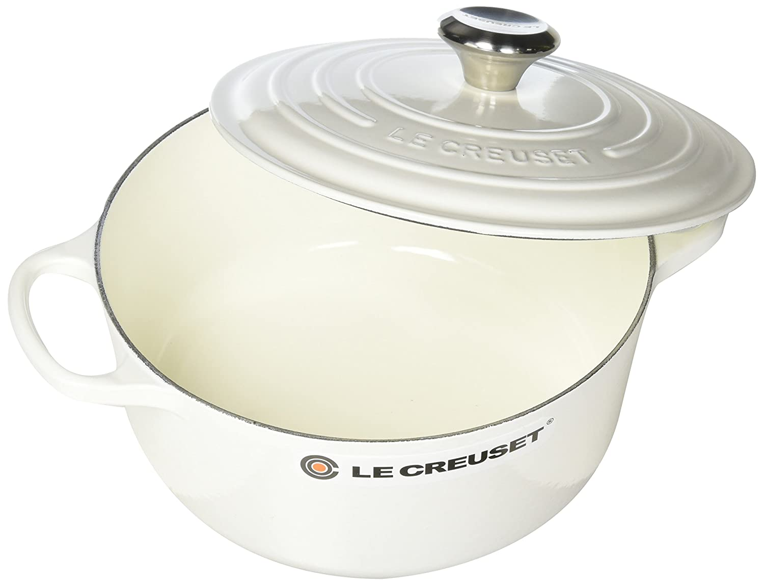 Le Creuset LS2501-2416SS Enameled Cast Iron 4.5 quart Signature Round Dutch Oven White