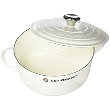 Le Creuset LS2501-2416SS Enameled Cast Iron 4.5 quart Signature Round Dutch Oven, White