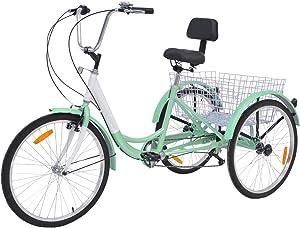 MOPHOTO Adult Tricycles Three Wheel Cruiser Bike